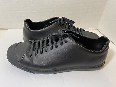 Zara Man Men's Black Leather Low Top Fashion Sneakers Shoes Sz 44 US 11