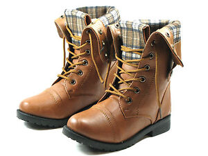 New Youth Girl Combat Riding Mid-Calf Boots With Side Release Buttons Sz 11-4