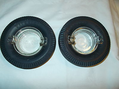 """2 VINTAGE FIRESTONE TIRE ASHTRAY'S READ'S """"THE BEST BY MILES"""" TIRE'S ARE SOFT!"""