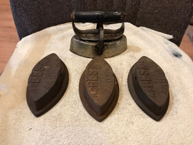 Vintage Asbestos Sad Irons (3) with 1 Removable Cover-Wooden Handle. Irons -72-B