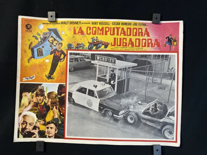 1969 WALT DISNEY~KURT RUSSELL~The Computer Wore Tennis Shoes~Orgnl MX Lobby Card