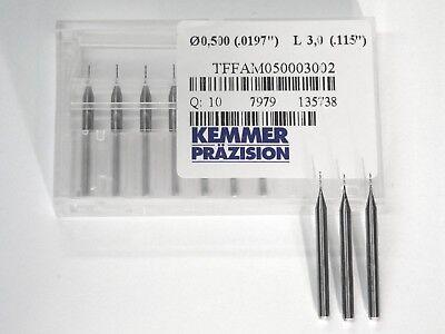 VHM Fräser D 0,5 mm NEU 2- Schneider 3 Stück Kemmer Präzision CNC Fräsmaschine