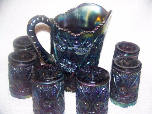 From Imperial-Diamond and Lace Rare Carnival Glass Pitcher & Six Tumblers