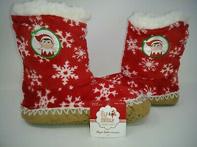 NEW! The Elf On The Shelf Slipper Socks Booties House Shoes Red SM 8-13 307AB pp