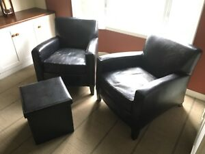 Vinyl club chairs and storage ottoman