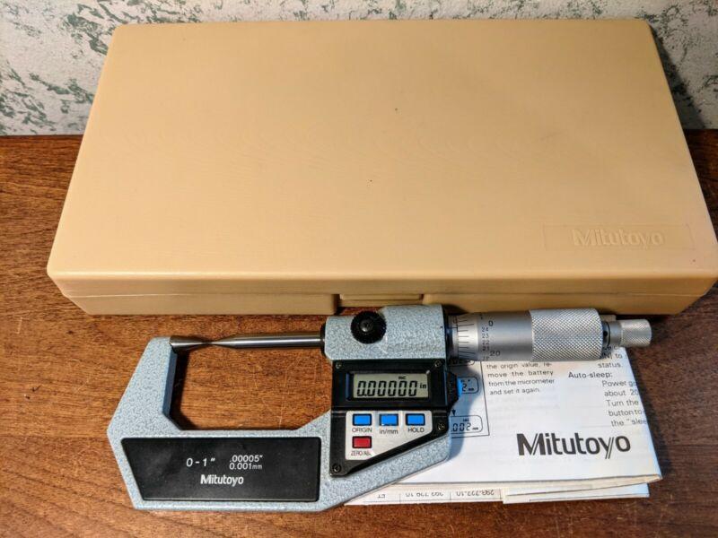 MITUTOYO 0-1 Inch DIGITAL POINT MICROMETER NO 342-741-10 w/ CASE