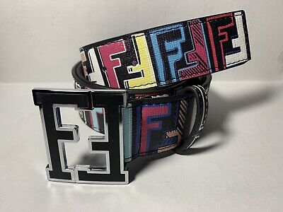 Fendi Belt Black Multi-color Fits 30-34 In.