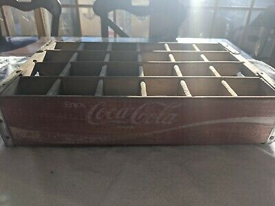 Vintage Wood Coca Cola Coke crate box Red with wooden dividers