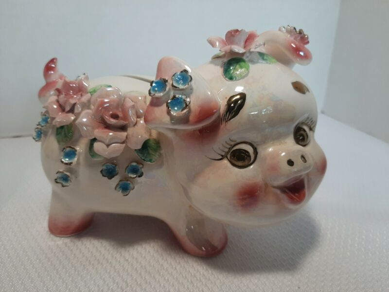 Vintage E Wales Mother of Pearl Ceramic Piggy Bank With Raised Flowers