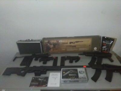 airsoft lot of six gas guns. Two KWA AKG 74's. Two KWA M11's, HFC t77, G&G G96