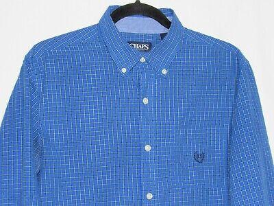 CHAPS EASY CARE L/S Button Blue Grid Pattern Size Medium with Logo Cotton-Blend Grids Pattern Cotton Blends
