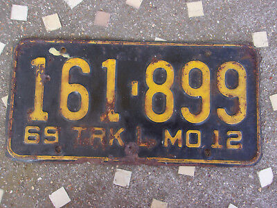 Vintage License Plate Sign 1969 Missouri Pick up Truck Tag AS IS