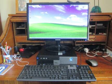 Dell desktop computer, screen, keyboard, mouse