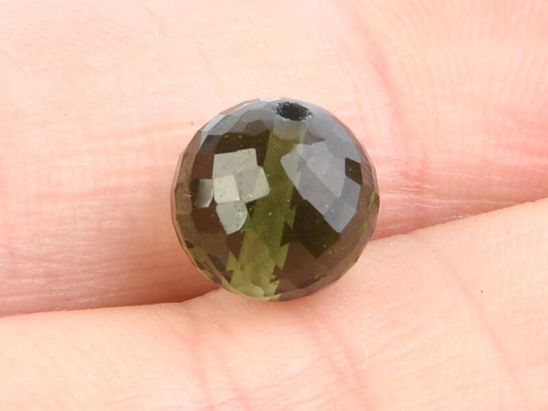 4.09g beads DRILLED MOLDAVITE FACETED CUTTED GEMS SET 5 PCS 9mm #BRUS1795