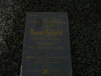 Royal Enfield 150 Prince Parts Book 1959 Original