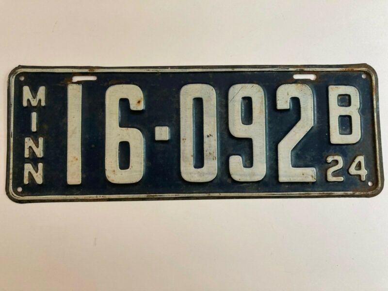 1924 Minnesota License Plate Nice All Original Paint