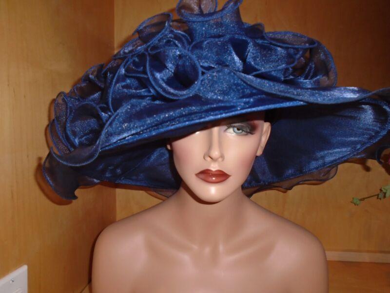 Navy blue Kentucky derby ascot dress formal church tea large organza
