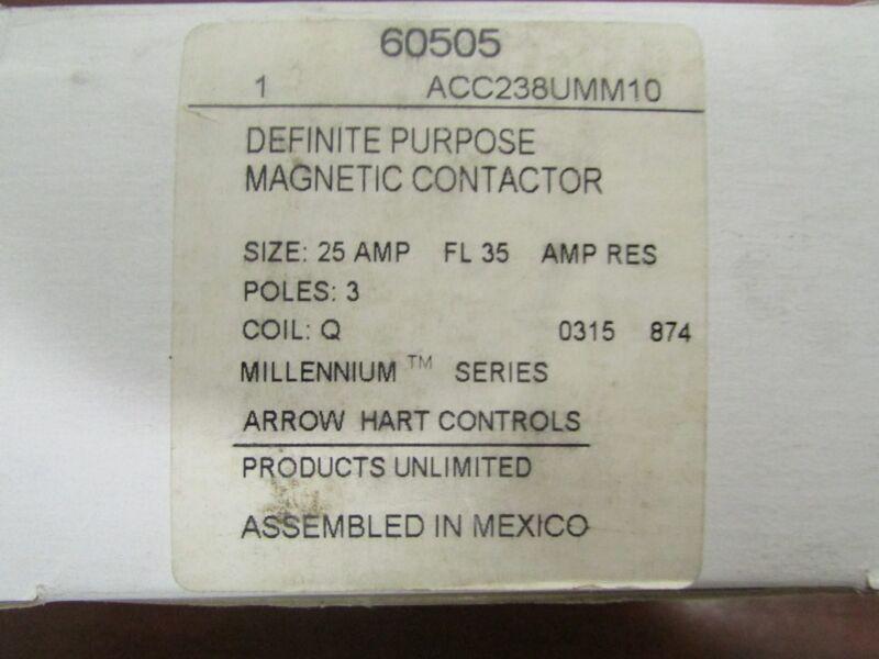 ARROW HART TYCO 60505 ACC238UMM10 25 AMP 3 Pole Coil Q Contactor