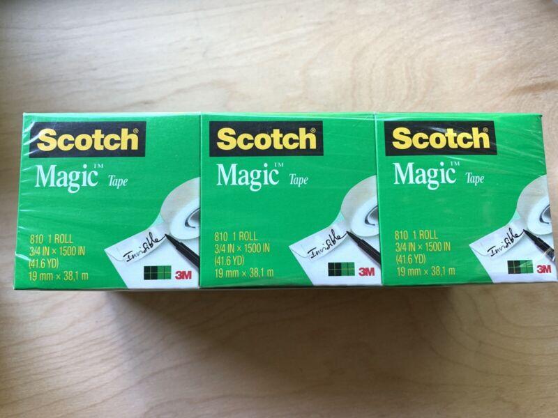 """Scotch Magic Tape Refill 3 Rolls, 3/4"""" x 1500"""" per Roll Original Matte Finish"""