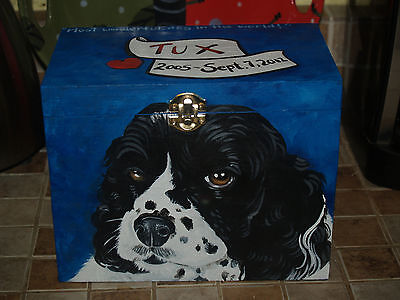 Custom hand painted dog urn portrait memorial Wood box Pet URN Spaniel urn