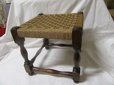 Vintage turned wood seagrass stool/footrest with woven seat 12