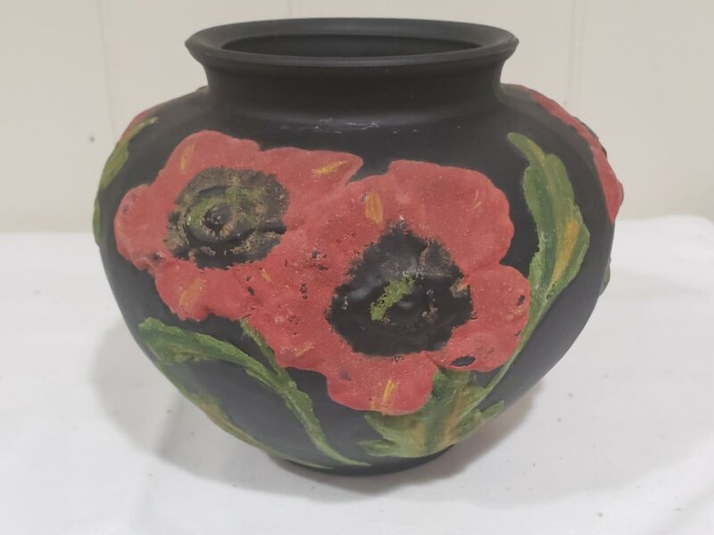 Antique 1920s Tiffin Black Satin Glass Red Poppy Vase w Raised Coralene Flowers