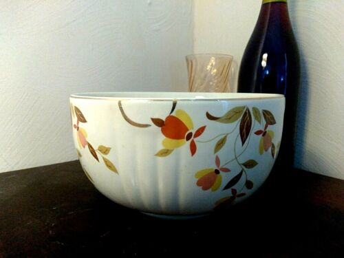 "Hall Superior Pottery CREAM Jewel Tea AUTUMN LEAF Serving Mixing Bowl 7"" Middle"
