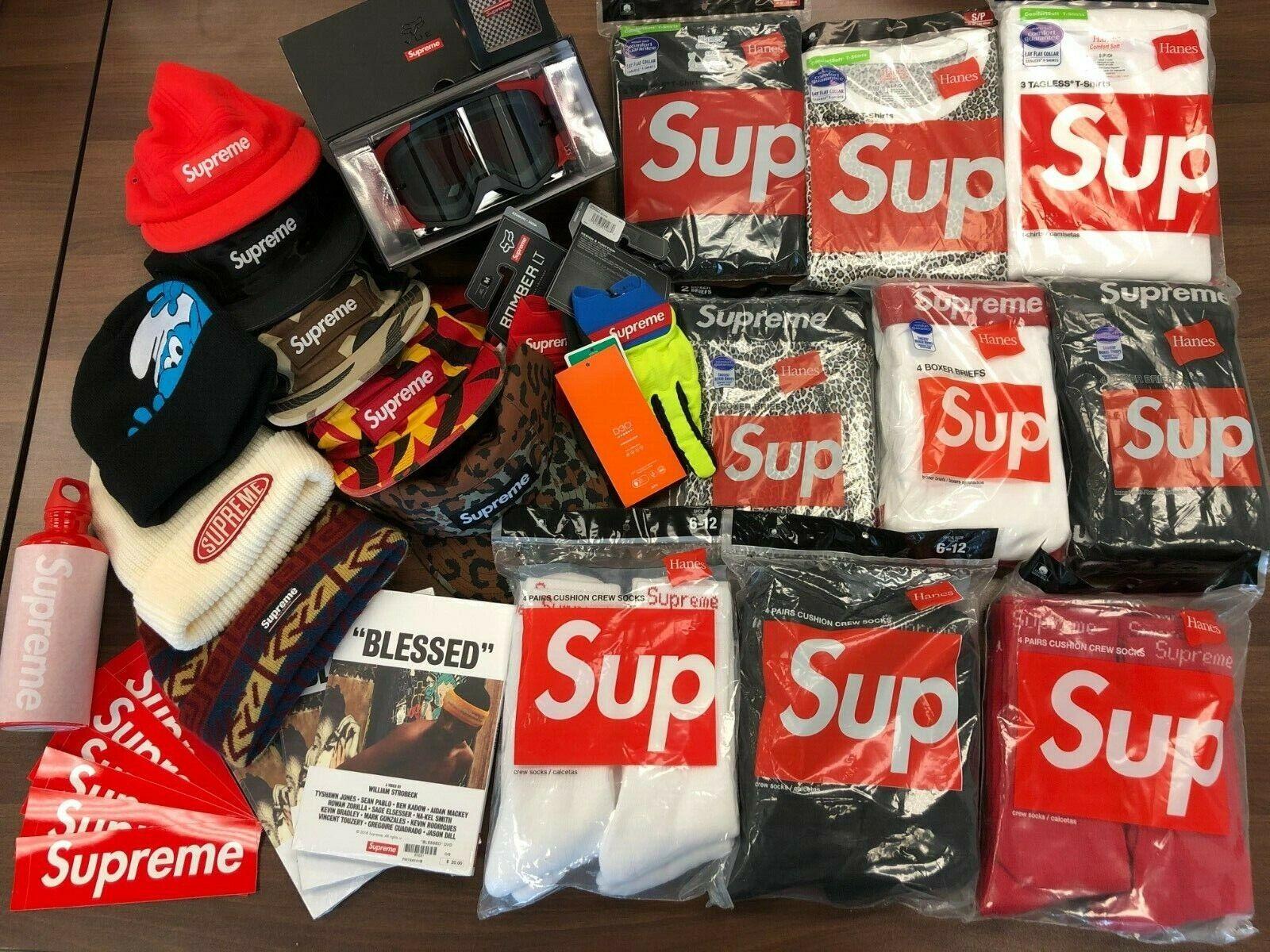 Supreme x Hanes Authentic Tagless Tee / Boxer / Socks Black White Red Box Logo