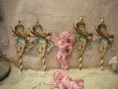 Shabby Chic Cup Cake / Dessert Toppers / Party Decorations Victorian  Angel - Cup Cake Decorations
