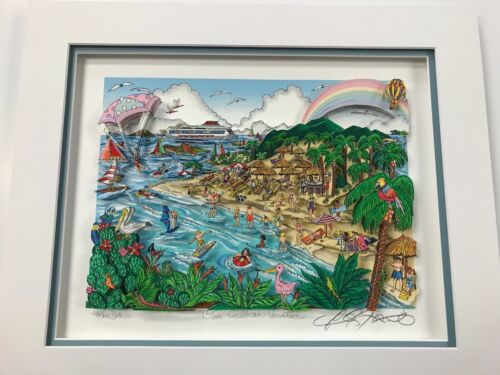 """Charles Fazzino 3D Artwork """" Our Carbbean Vacation """" Signed & Numbered Deluxe Ed"""
