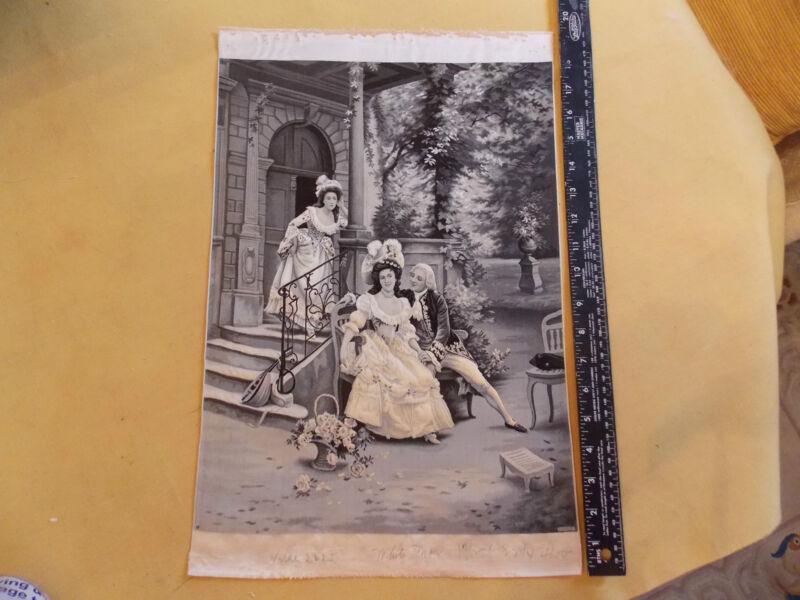 "1880 RARE 12.5 x 19 French Silk Neyret Freres Jules Girardet ""The Indiscretion"""