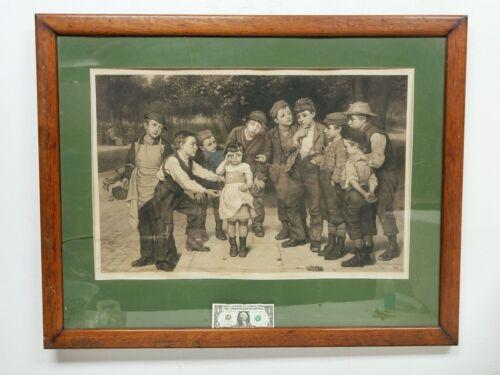 "Large Antique 1881 JOHN GEORGE BROWN Engraving Print ""Little Girl Lost"""