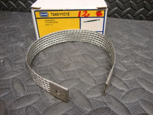 "NEW Ilsco T240/11C12 Flexible Braid Tin Plated Copper 12"" long Strap"