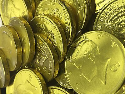 Solid Milk Chocolate Large Kennedy Gold Coins - 5 Full Pounds Bulk Wholesale  - Bulk Chocolate Coins