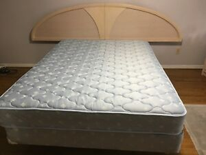 Queen bed frame and mattress with box spring
