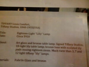 tiffany lily lamp..signed