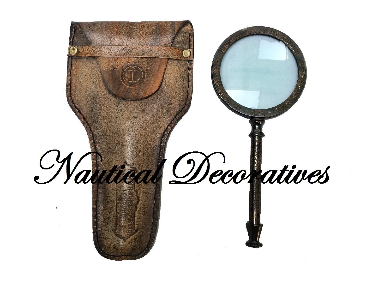 Antique Brass Magnifying Glass Vintage Nautical Table Top Decor Magnifier W Case