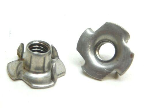 100 PACK! Plain Steel T-Nut 5/16-18 Thread 4 Prongs Threaded Insert Tee Nut ES