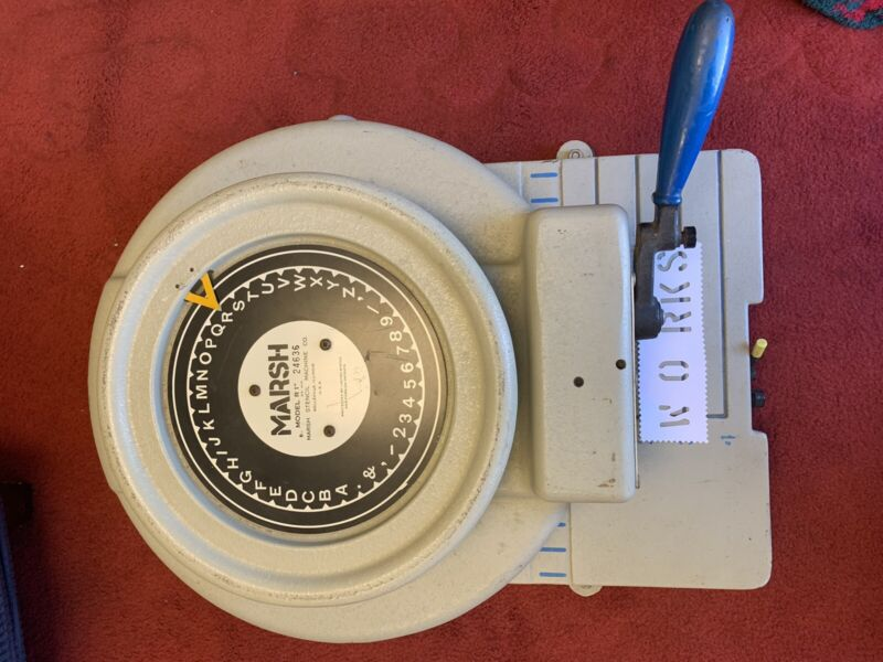 """MARSH STENCIL MACHINE COMPANY MODEL R1  ROTARY PUNCHCUTTER 1"""" INCH MILITARY"""