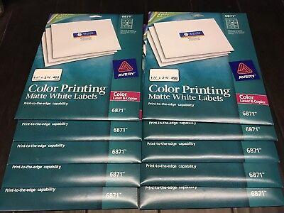 10 Pack @ Avery 6871 Color Laser & Copier 1-1/4 x 2-3/8, Matte White 4500 - Avery Color Laser Label