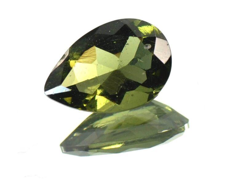 2.165cts DROP/PEAR standart cut 8x12mm moldavite faceted cutted gem BRUS1283