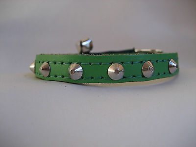 LEATHER GREEN SMALL STUDDED CAT COLLAR