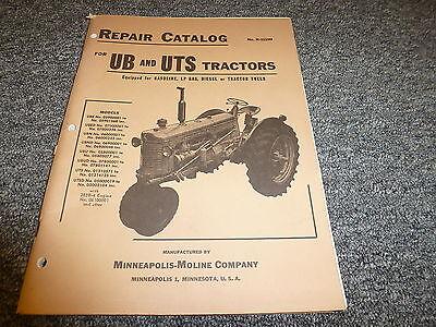 Minneapolis Moline Ube Ubed Ubn Ubnd Ubu Ubud Uts Utsd Tractor Parts Manual