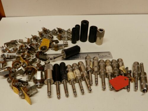 Huge Lot of Vintage 1/4 Plugs and Sockets For Guitar Cables Some NOS