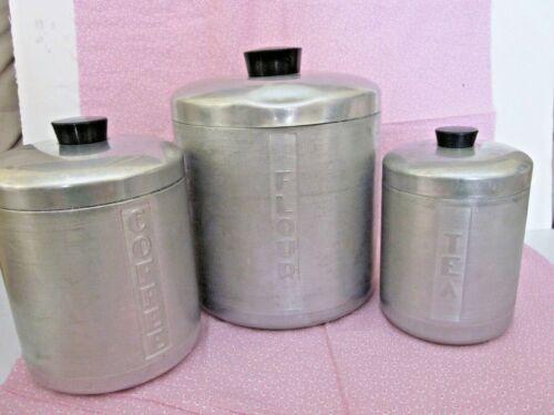 3 Vintage 1950s Mid Century Aluminum Canister Set MCM