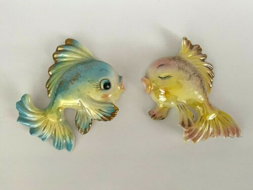 VINTAGE CERAMIC FISH PAIR BATHROOM WALL DECOR LUSTERWARE MERMAID