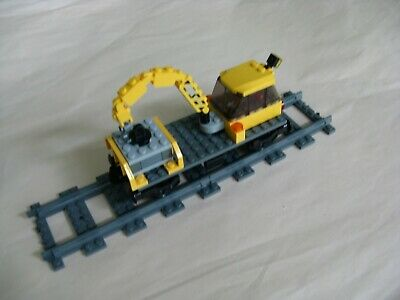 Lego CITY TRAIN: TRACK MAINTENANCE CAR w/ BOOM & PALLET...