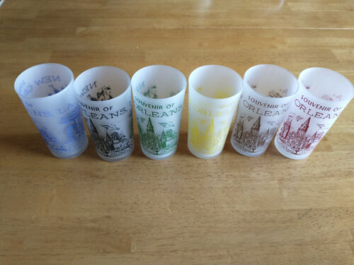 Frosted New Orleans Rare Set Of Six Souvenirs Glasses Six Different Colors Mint