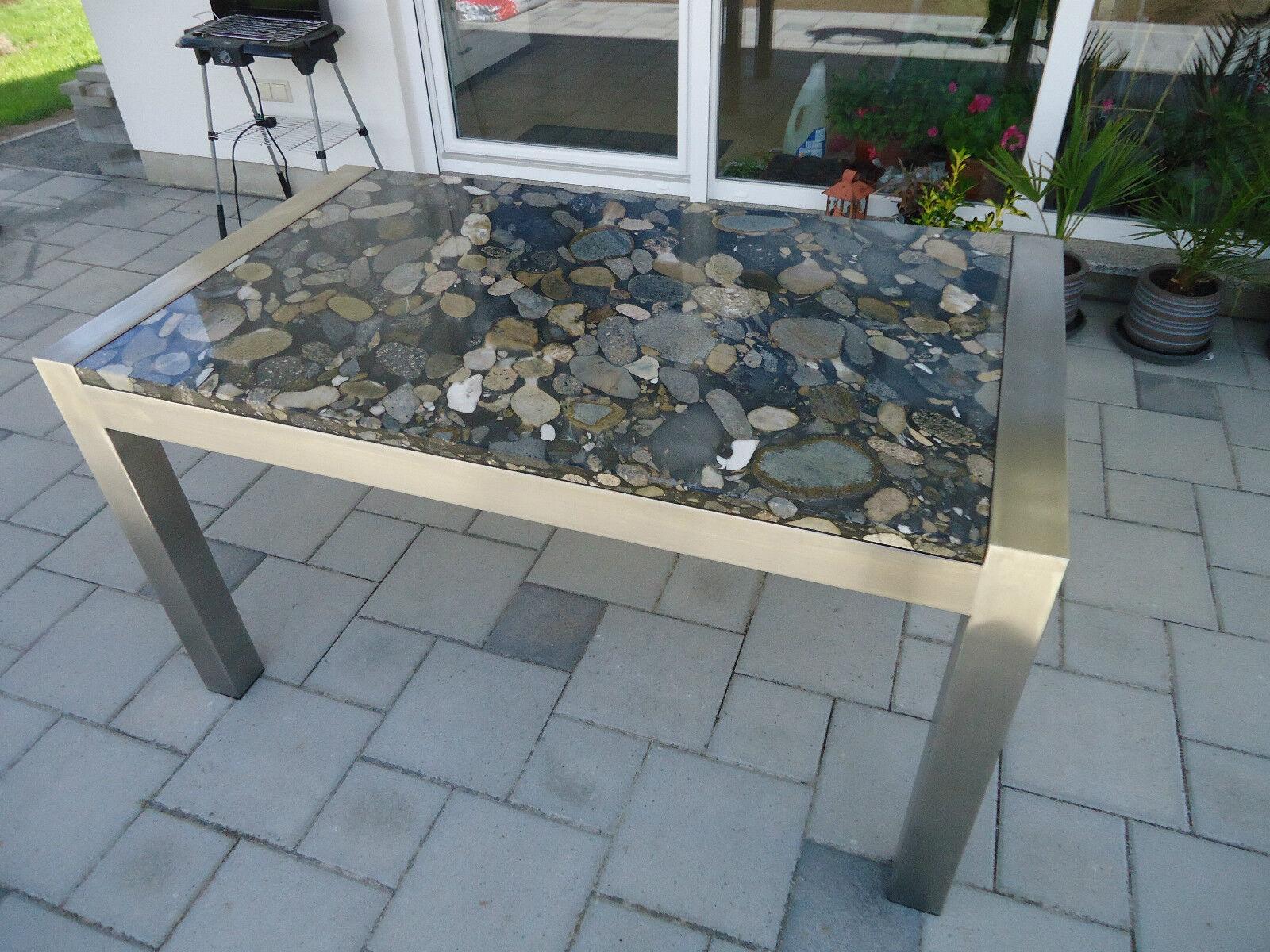 edelstahltisch esstisch wohnzimmertisch mit steinplatte naturstein schreibtisch eur. Black Bedroom Furniture Sets. Home Design Ideas