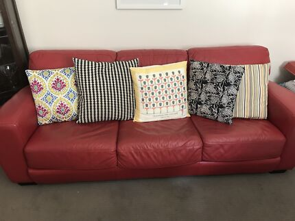 Freedom Furniture Red Leather Sofa Lounge